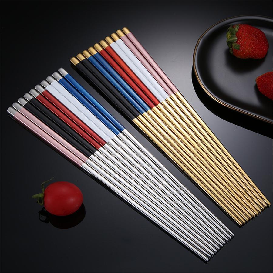 Paslanmaz Çelik Chopsticks Metal Chop bulaşığı Gümüş Altın renkli bulaşığı Düğün Festivali JK2007XB Malzemeleri Sticks