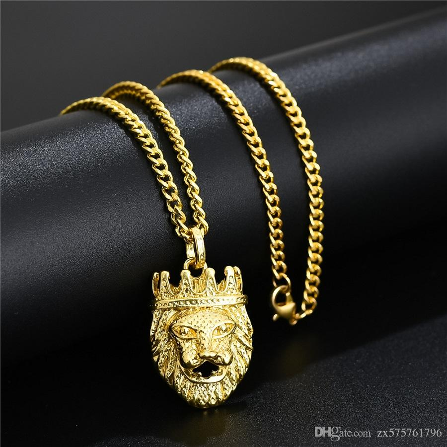 Hip Hop Lion Head Pendant Necklace For Men Luxury Gold Silver Plated Long Necklaces Jewelry Friendship Gifts