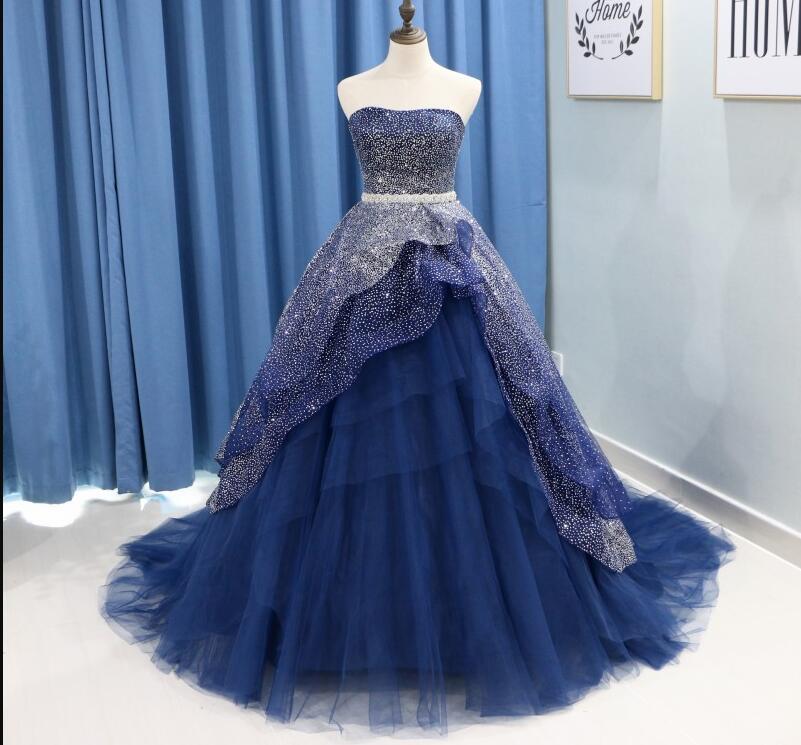 Accrocheur Glamorous pailleté Quinceanera robe de bal Cascading Ruffles bretelles cristal ceinture de bal Pageant Robes De Party