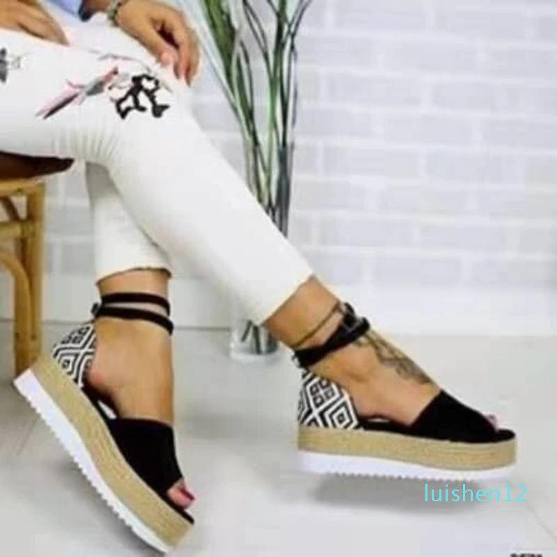 Sandales plates Femmes 2020 Confortable Plate-forme Mode Femmes Sandales Casual Big Size Platform Wedges Chaussures Roman # 35