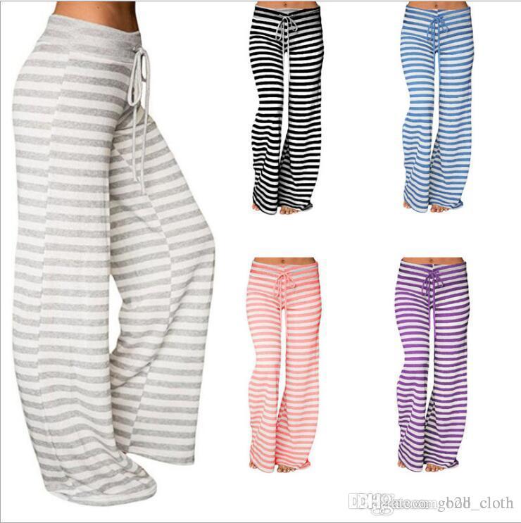 Kadınlar Yoga Spor Çizgili Gevşek Geniş Bacak Pantolon Stretch Tozluklar Uzun Pantolon Çizgili Flare Pantolon Serbest jimnastik pantolonu CNY882