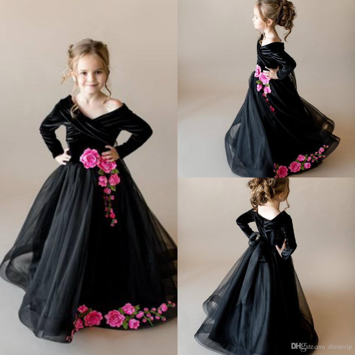 Compre Vestidos Negros Para Niña De Flores Con Apliques Rosados Sobre El Hombro Largo Del Piso Mangas Largas Niñas Vestido De Desfile Vestidos