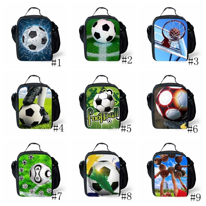أكياس الغداء لكرة القدم كرة القدم لكرة القدم الطباعة الاطفال برودة الغداء مربع حقيبة الكتف في الهواء الطلق أكياس تخزين نزهة 18 أنماط GGA1892