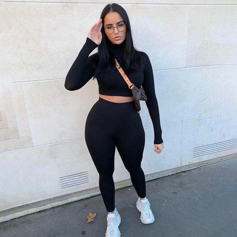 Femmes Couleur naturelle Survêtements Mode manches longues Crop Top Pantalons longs Vêtements pour femmes 2 Piece Set