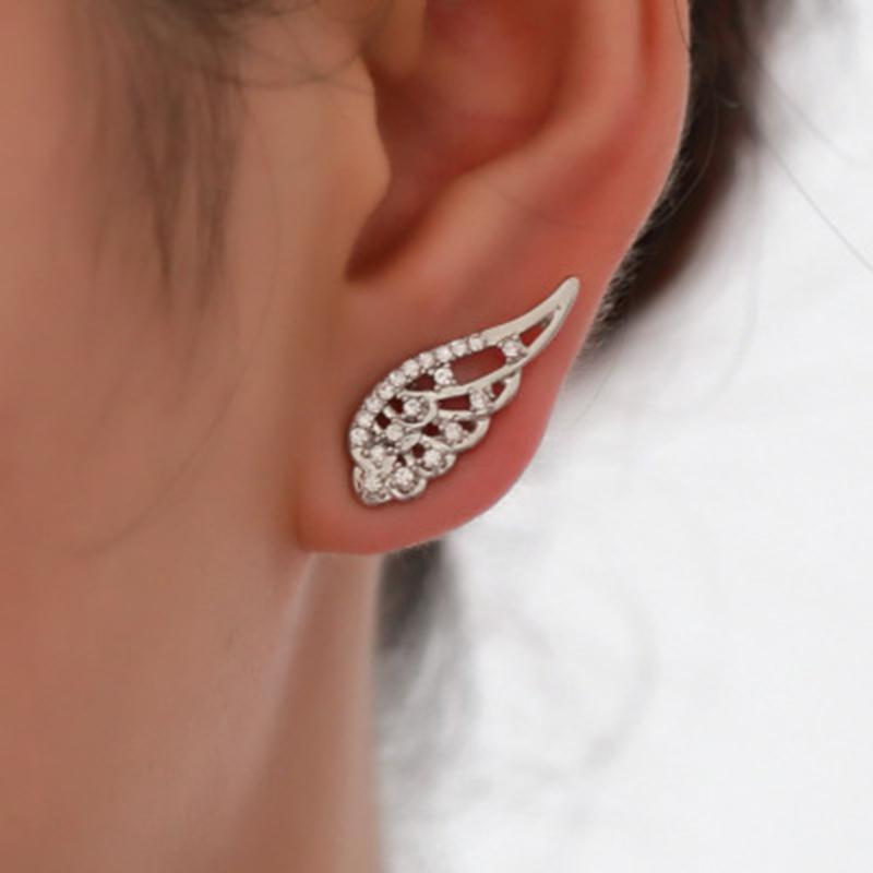 Personnalisable Nouveau mode Ailes d'ange Boucles d'oreilles en acier inoxydable Boucles d'oreilles Femme Bijoux Mode Dainty Cadeau Luxe moderne Trendy