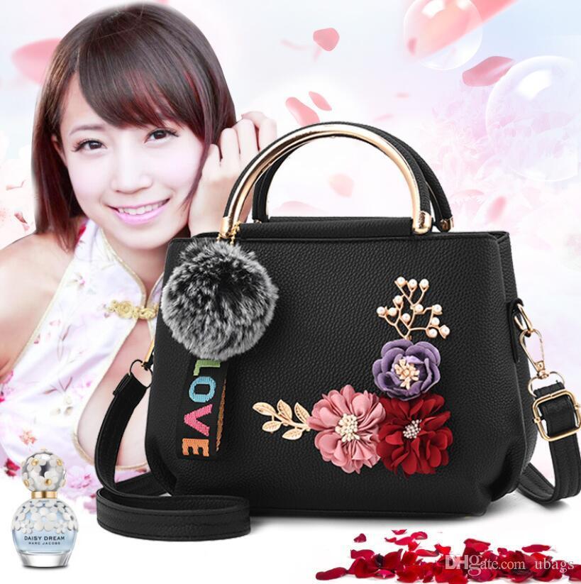 Çanta crossbody deri çantasına Feminina Kadınlar Omuz Çantası çiçek Düz renk çanta için Yeni PU Deri Çanta