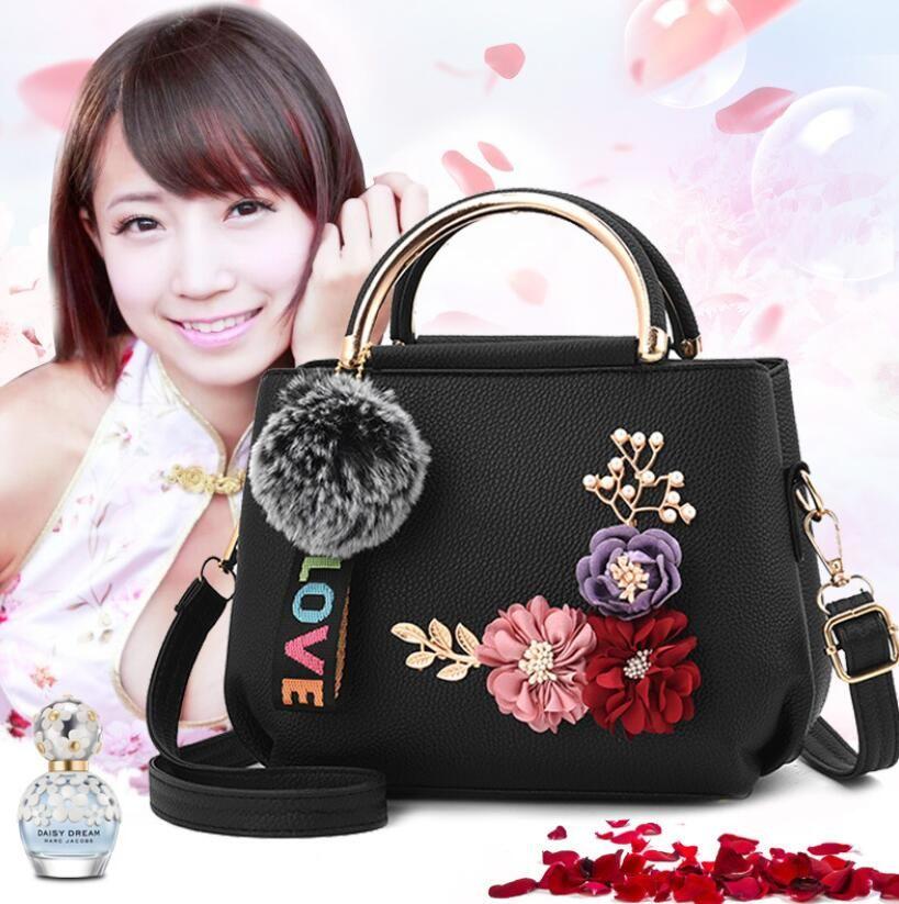 Nuovo PU Borse da donna in pelle spalla sacchetto di colore solido del fiore Borsa Feminina borsa in pelle crossbody borsa
