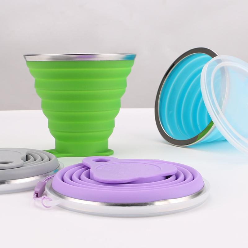 270ML Travel Cup Stainless Steel Silicone Retractable Folding Cups Telescopic Collapsible Coffee Cups Outdoor Sport Water Cup