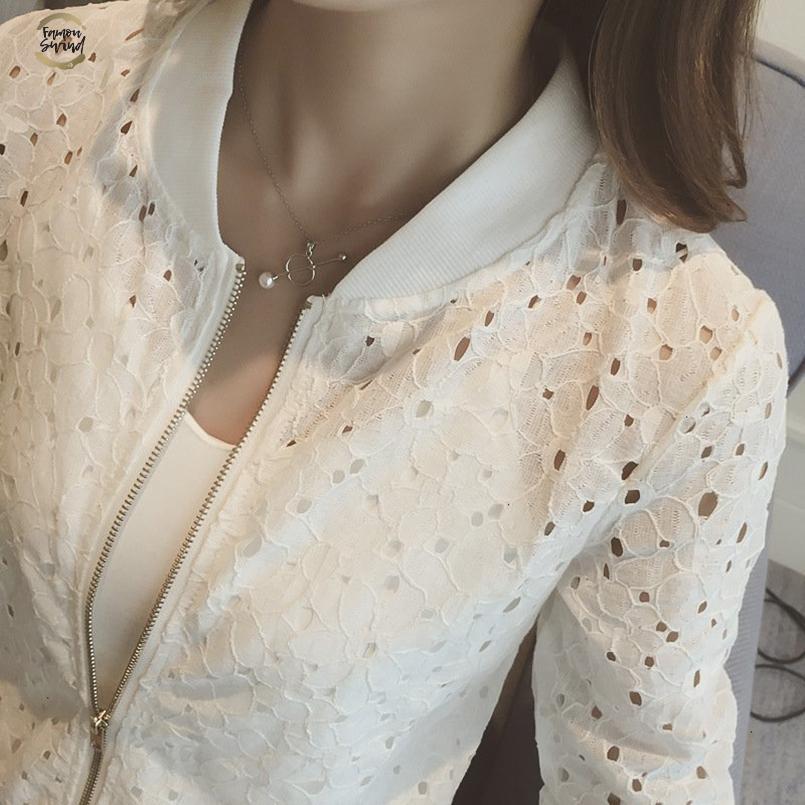 Coreano Zipper versione sottile scava fuori pizzo a maniche lunghe rivestimento sottile bianco Rash Guardie femminile breve chiusura lampo del rivestimento del cappotto