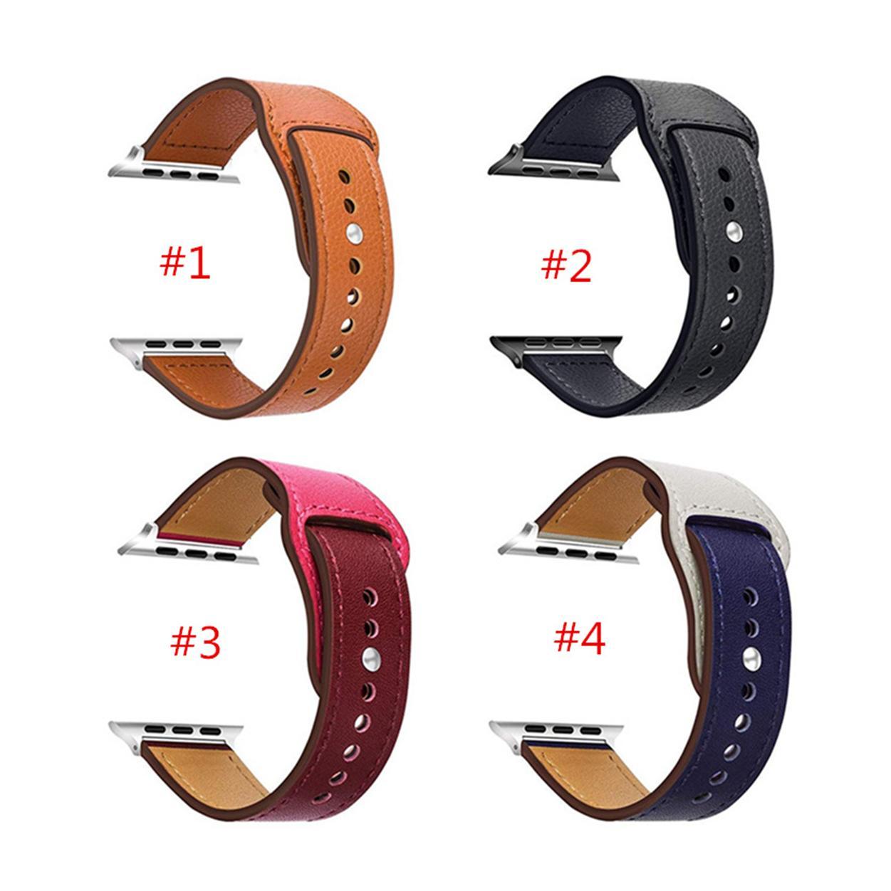 스포츠 실리콘 디자인 가죽 Wirst 밴드 시계 버클 밴드 애플 시계 스트랩 38 / 40mm 42 / 44mm 가죽 스트랩 iWatch 시리즈 2 3 4 5