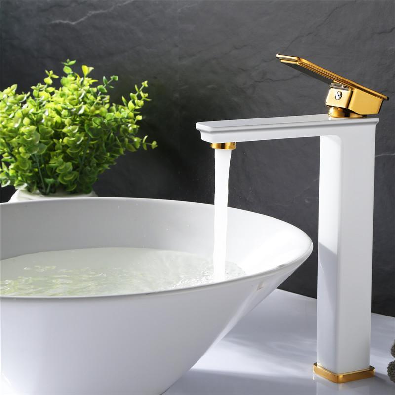 bacia fase Preto bacia de cobre cheio torneira de lavatório bacia torneira torneira de água quente e fria