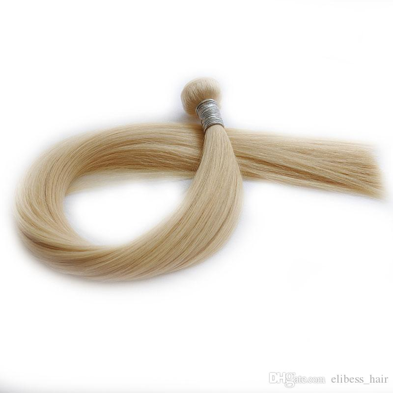 Blonde Farbe # 613 Pervian Haar Gerade Menschenhaar-Webart Bundles Verwicklung geben, 100g piece 3 PC Los, freies DHL