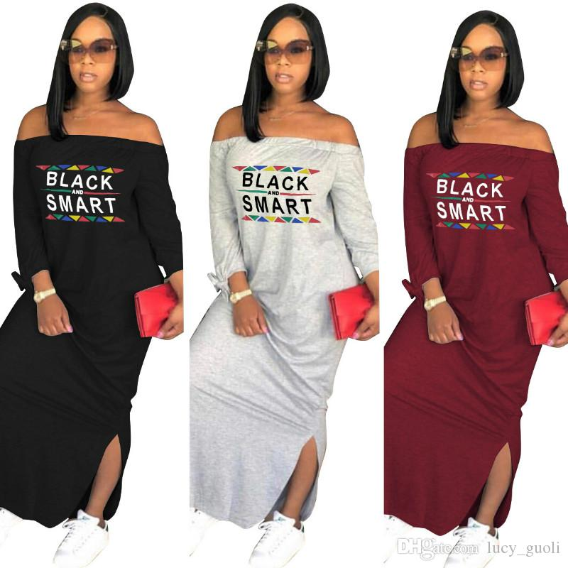 Letter Print Women Casual Maxi Dress Long Sleeve Slash Neck Loose Sexy Off Shoulder dress Femal Lady Bandage nightclub Side Slit Long dress