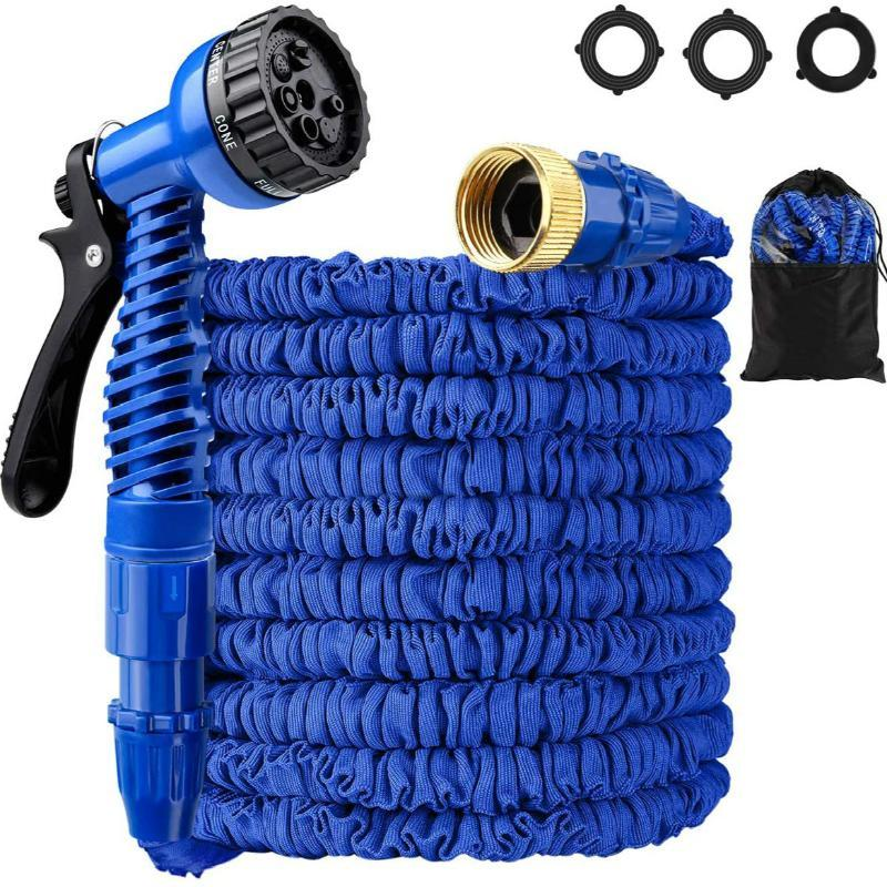 Expandable Stretchable Car Water Hose with Nozzle & Solid kit Flexible Lightweight Maneuverable for Garden Lawn watering Plants