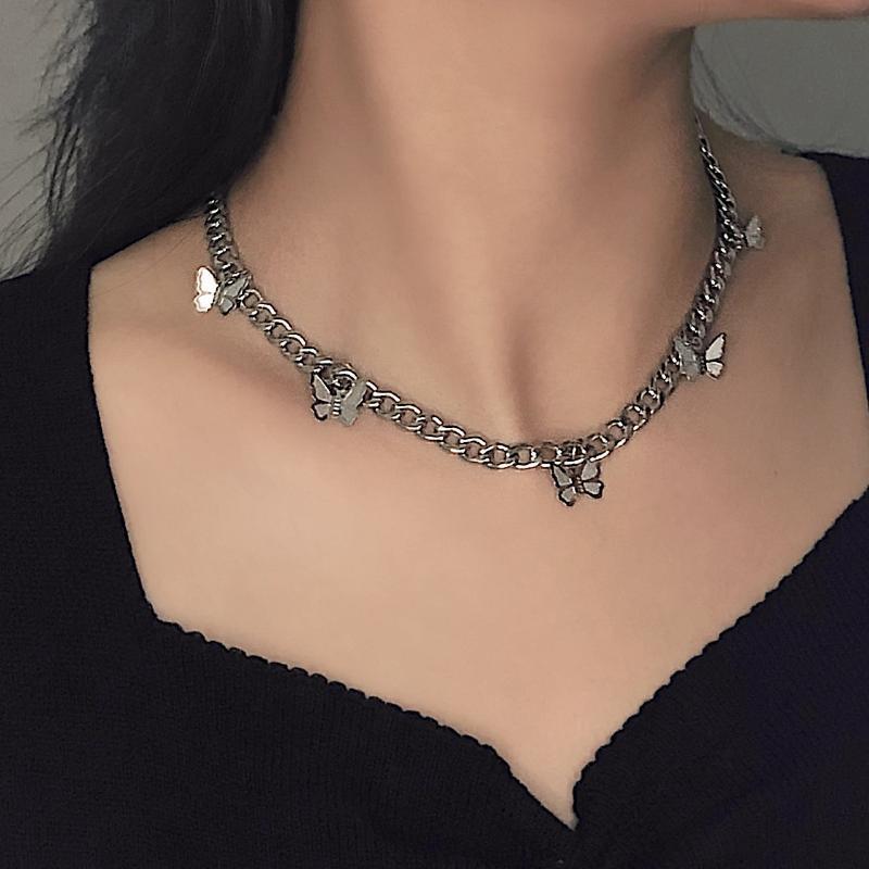 2020 Fashion Fine Titanium Steel Small Butterfly Pendant Necklaces Hip hop Punk Silver Color Chain Short Choker For Women bijoux