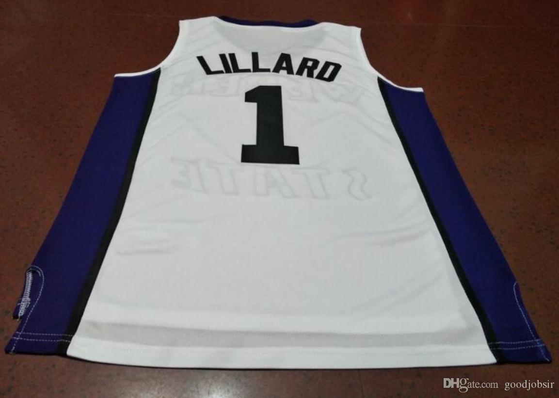 Benutzerdefinierte Männer Jugend Frauen # 1 DAMIAN Lillard Weber State College Basketball-Jersey-Größe S-6XL oder benutzerdefinierten beliebigen Namen oder Nummer Jersey