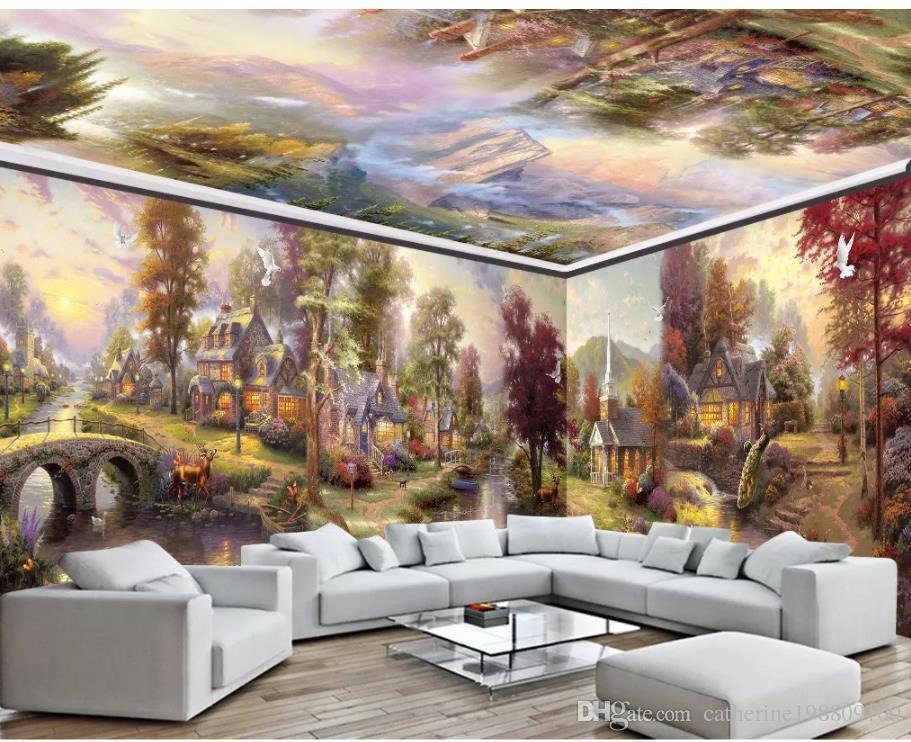 Acheter Papier Peint De Salon Moderne Ville Jardin Rural Peinture à L Huile Maison Entière Mur Peinture Murale De 16 59 Du Catherine198809100