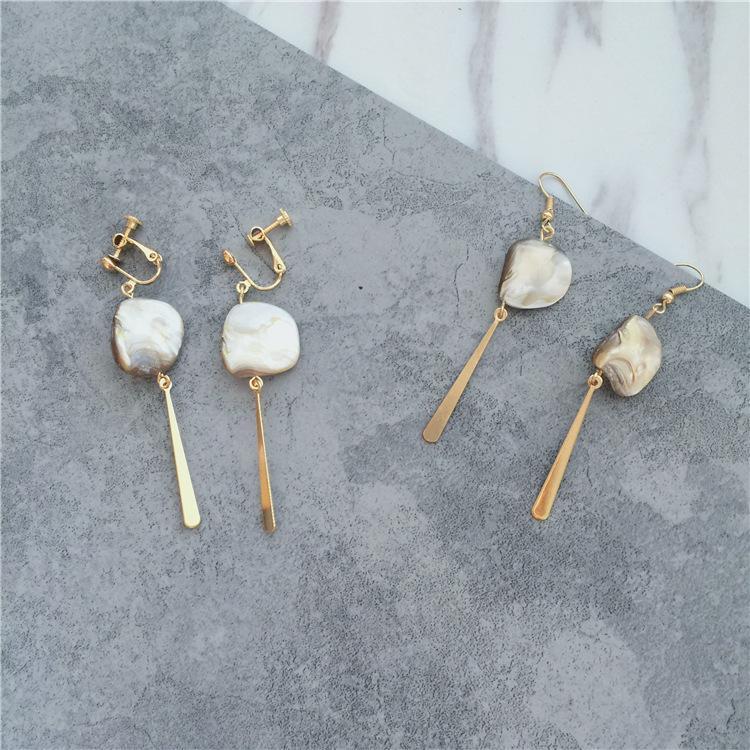 mãe natural irregular de brincos de pérolas para as mulheres, clip cor de ouro on brincos não perfurou ouvido clipe shell manguito jóias ouvido