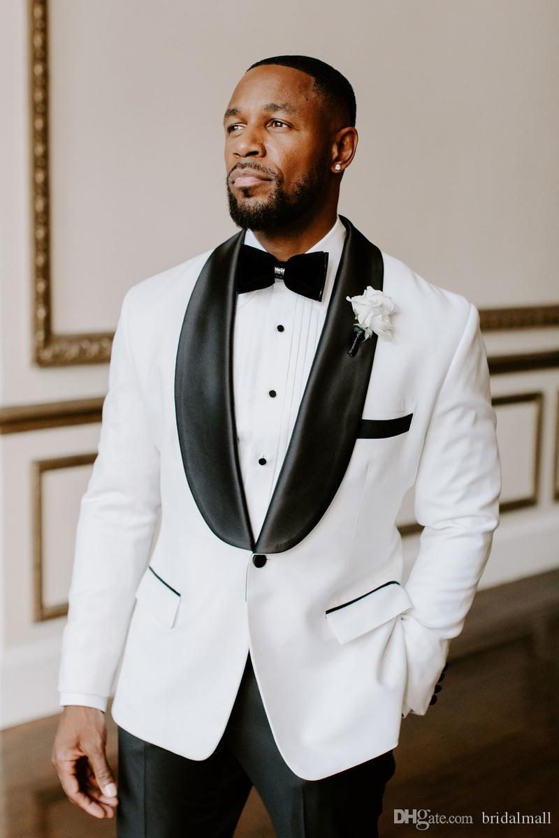 Designer 2020 abito da sposa bianco smoking dello sposo nero risvolto Groomsmen Best Man Jacket Blazer 2 Pezzi formale Completo Affari (giacca + pantaloni)