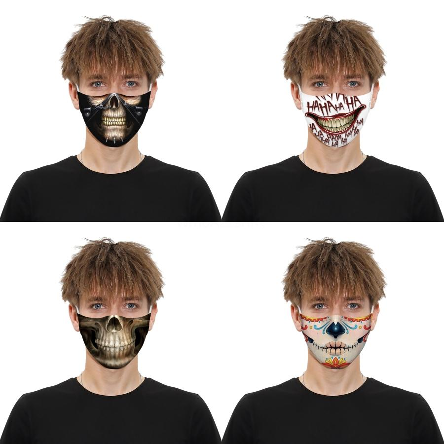 Dener Gesichtsmaske Schädel Persönlichkeit 3D-Gesichtsmasken Lack Staubdichtes Mode Druck Eis-Silk Gewebe Can E # Gewaschene AQ636 # 363