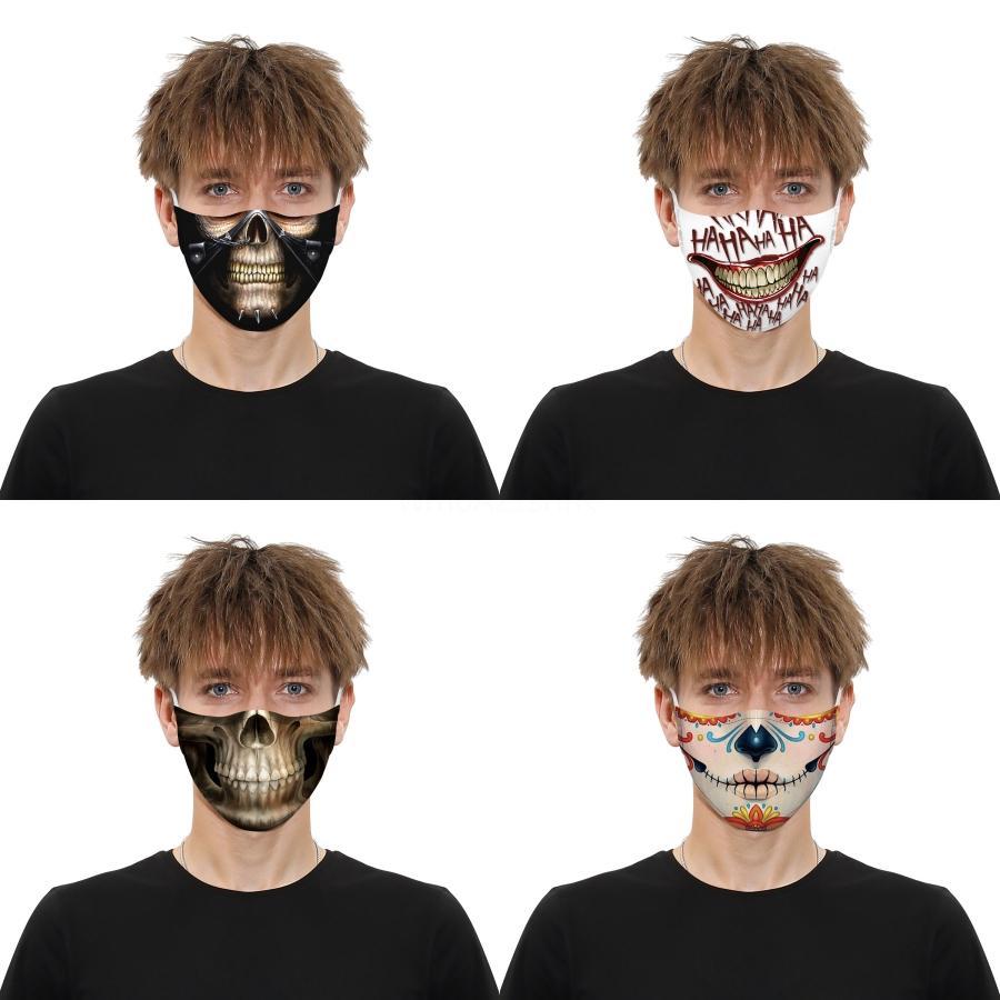 Dener Máscara Facial crânio personalidade máscaras 3D Falta Dustproof Impressão Moda Ice Silk Fabric Can E Lavados # AQ636 # 363
