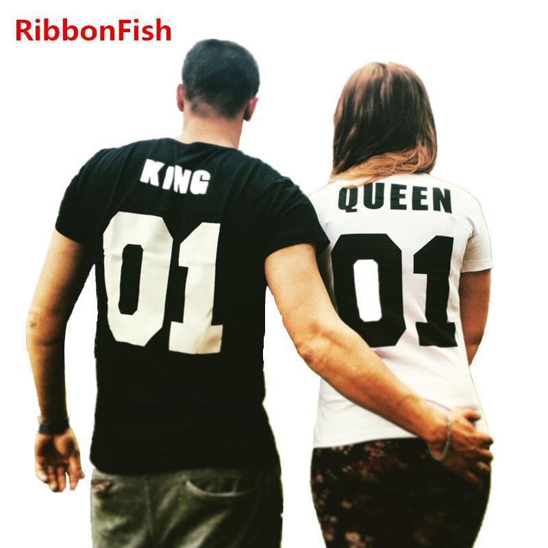 Las mujeres forman amante de los pares camisetas casuales de señora Girls manga corta Rey y la Reina Imprimir Tee Top Blusas regalo para la esposa grilfriend