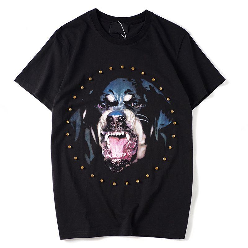 Mens T Shirt Pares Homens Mulheres de alta qualidade manga curta Moda Verão cabeça do cão impressão T Shirt Tees Preto S-XL