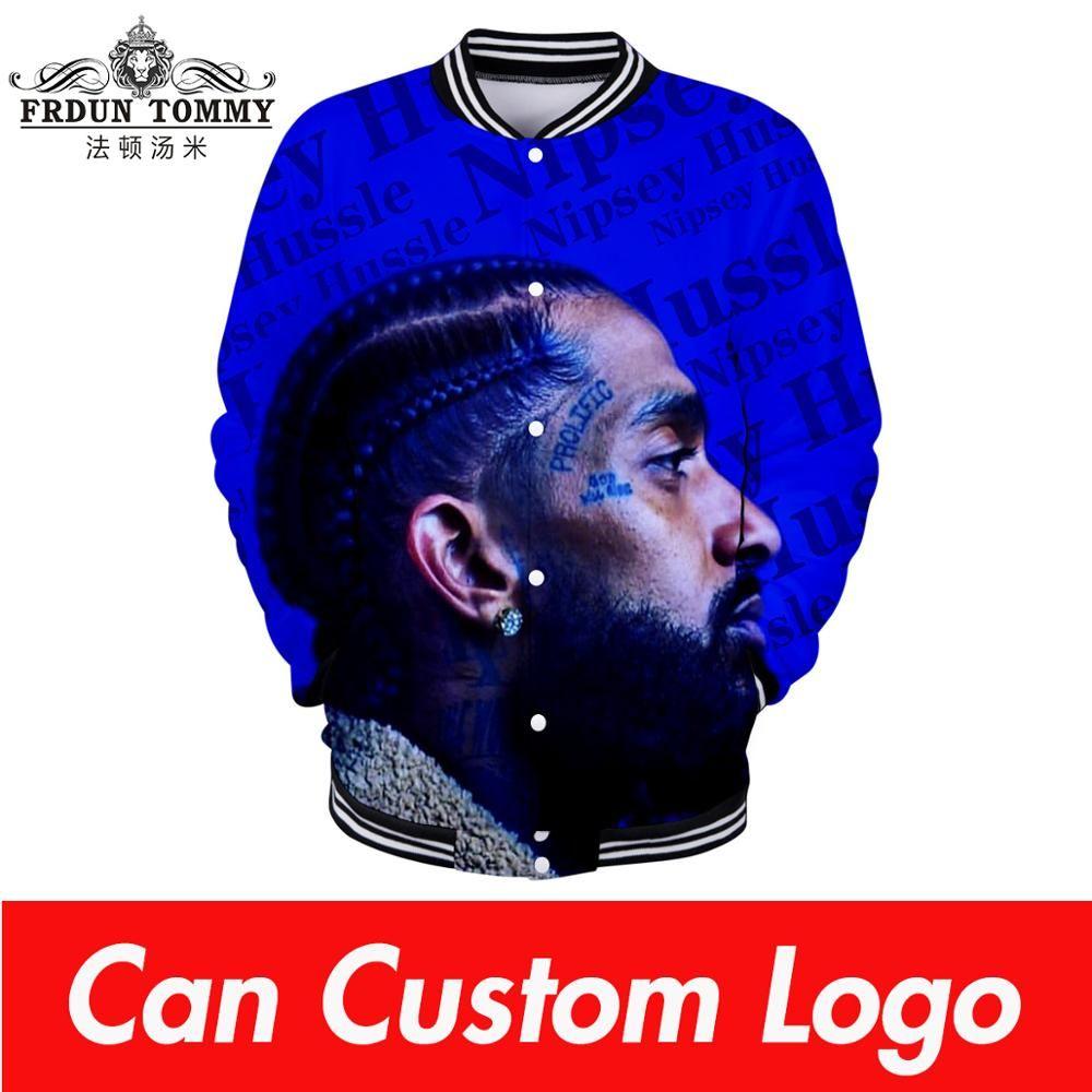 2019 Nipsey hussle Baseball 3D uniforme 2019 novos homens / mulheres primavera Casual roupas Harajuku Casacos de beisebol mais streetwear tamanho