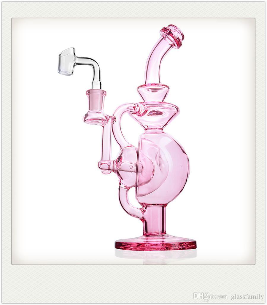 Bangs rose pourpre verre huile de forage de bécher bong dab tuyaux oeuf Recycleur avec de l'eau pétard ligne perc