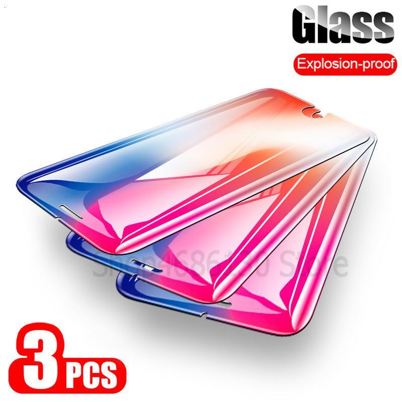 3PCS 0.22mm 9H Ausgeglichenes Glas auf dem für iPhone 8 7 6 6S Plus 5 5S SE Schirm-Schutz für iPhone X XR XS Max Schutzglas