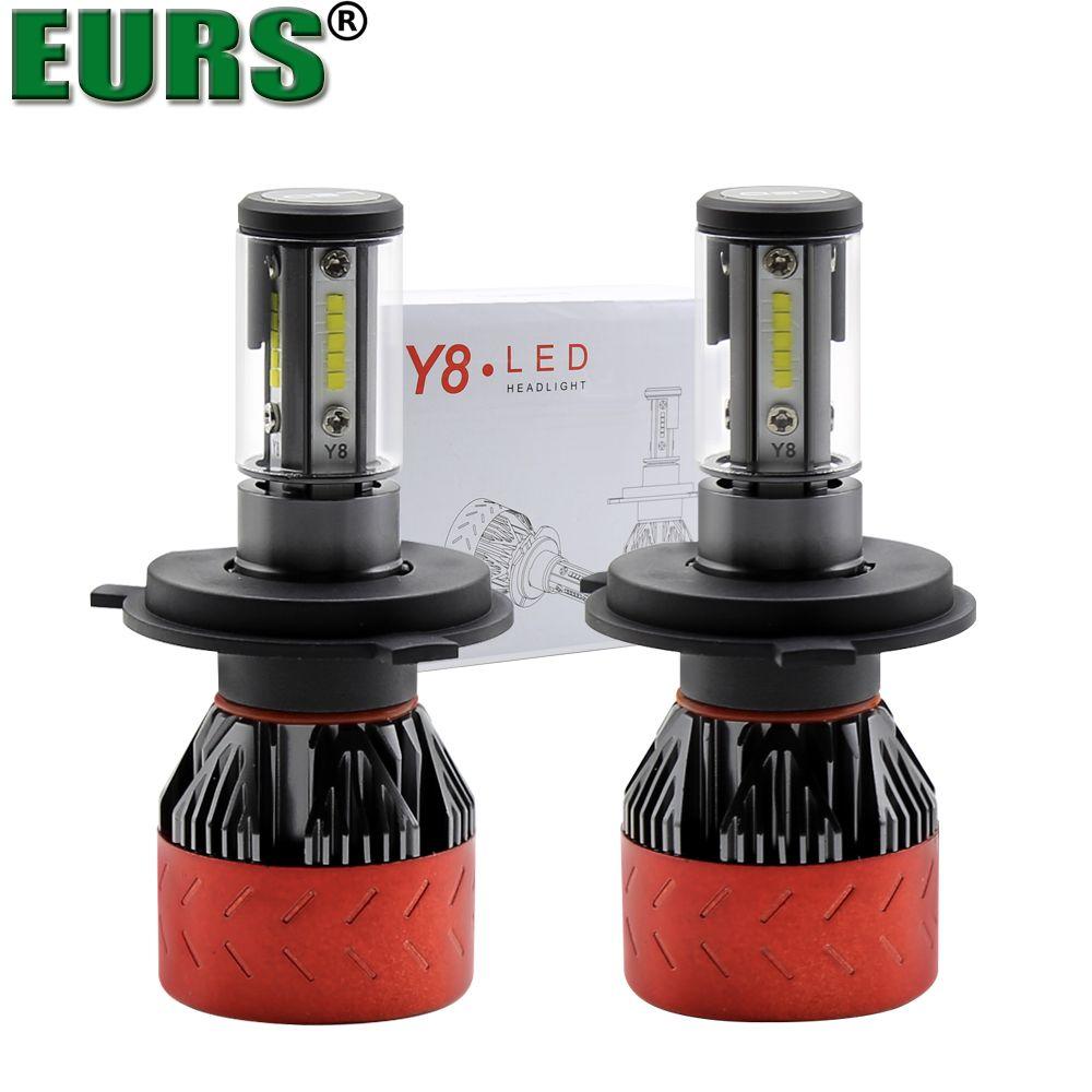 EURS 2pcs Blub Y8 Auto Car H8 H11 H7 H4 LED Headlights 9005 9006 6000K Cool white 72W CSP Bulbs Diodes Automobiles Parts Lamp