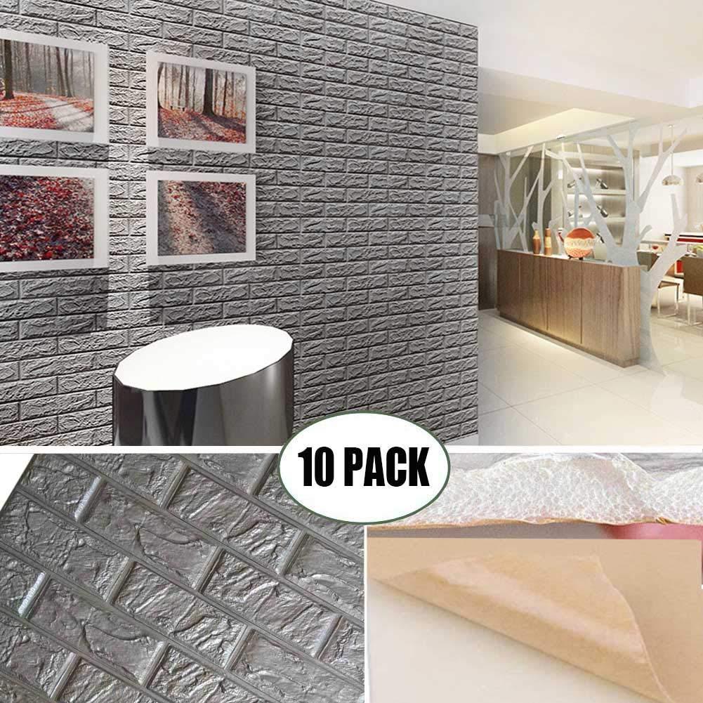 لوحات 3D رغوة جدار رمادي اللون التقشير وعصا الطوب للجدران الذاتي لاصق القابل للإزالة الجدران TV، خلفية جدار ديكور