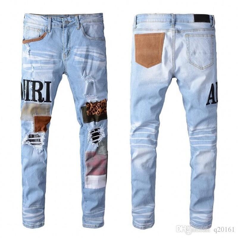 New alta qualidade Mens Jeans afligido Motociclista calça jeans Rocha magro Magro carta buraco rasgado impressão Marca Denim calças calças de brim