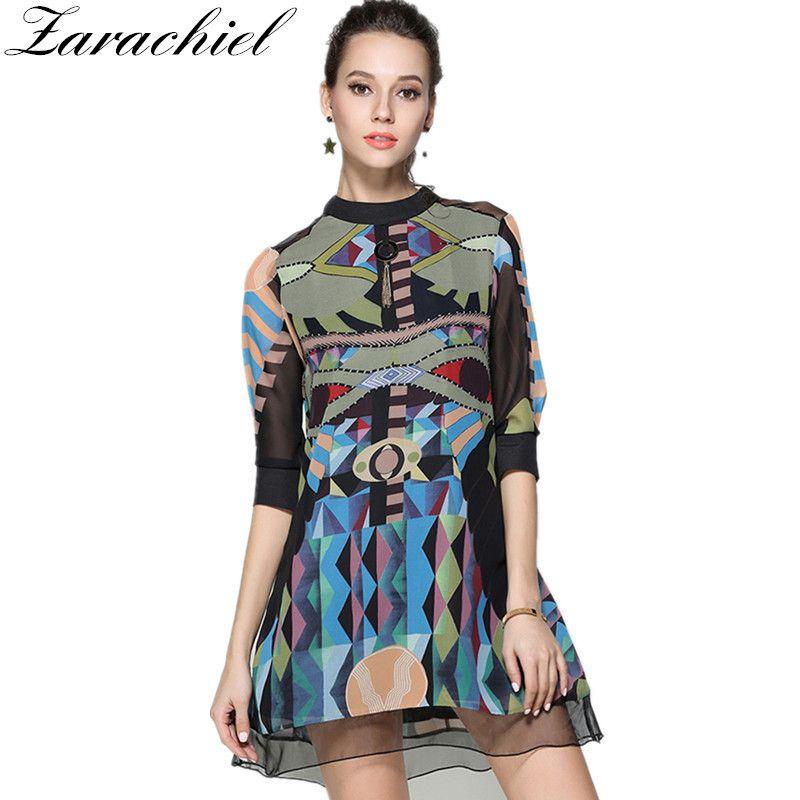 Zarachiel 2019 Autumn Runway Women Vintage Geometric Printed Chiffon Dress Metal Pendant Plus Size Mini Dress Robe Femme Vestido Y19051001