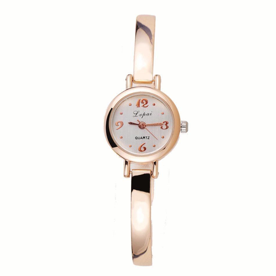 Lvpai de oro rosa pulsera de las mujeres Relojes de lujo del cuarzo-Relojes Ropa casual de las señoras vestido reloj del deporte del reloj de Dropshiping N #