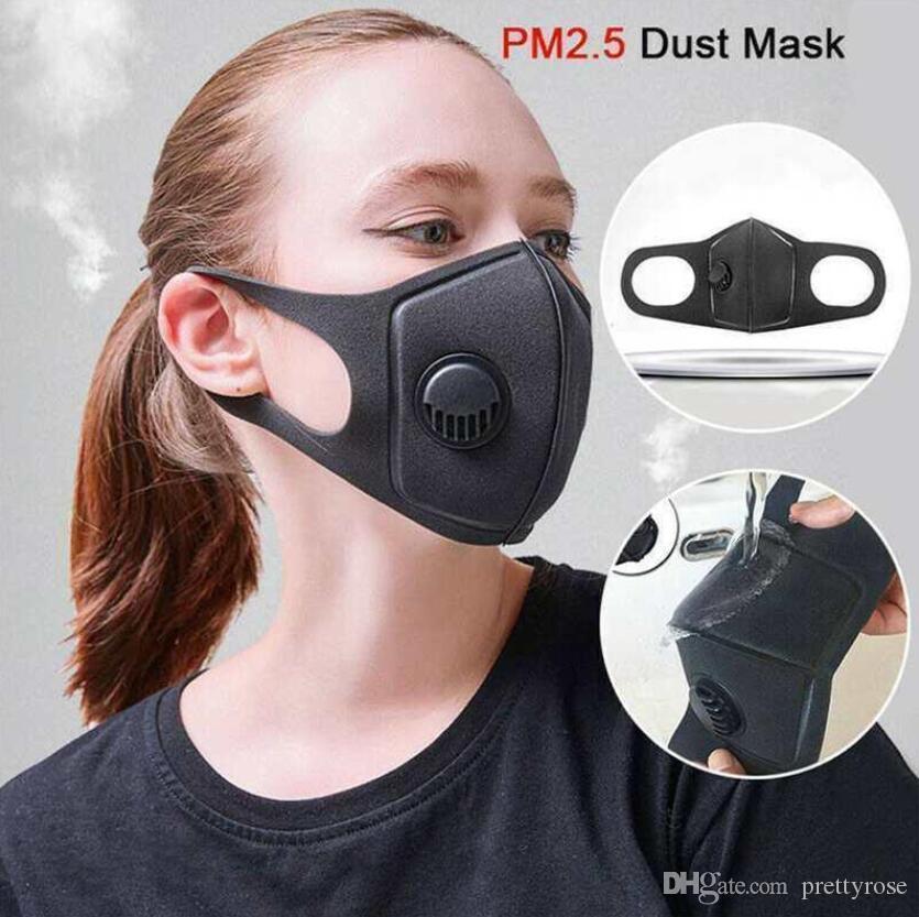 Cara máscara protectora a prueba de polvo de esponja anti-vaho 3D Máscara negro con la respiración Válvula lavable reutilizable invierno deportes al aire libre Warme