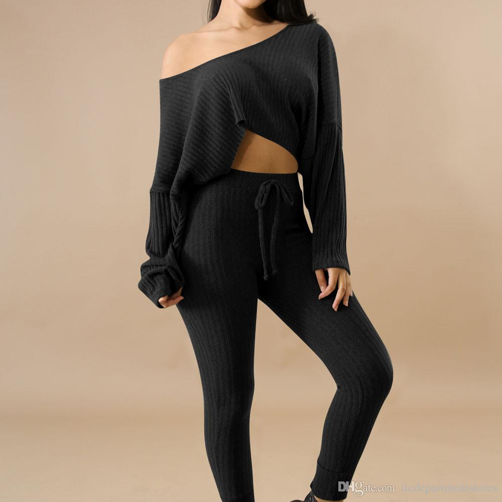 Sonbahar Eşofman Kadın İki Adet Günlük Uzun Kollu Cropp Jogger Boş takım elbise kadın Tops ve Pantolon Seti Bayanlar Ter Suits ayarlar