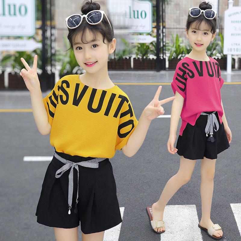 Roupa para meninas roupas de verão meninas da criança das crianças das crianças Moda Set Top + Shorts 4 5 6 7 8 9 10 11 12 13 14 Anos Y200525