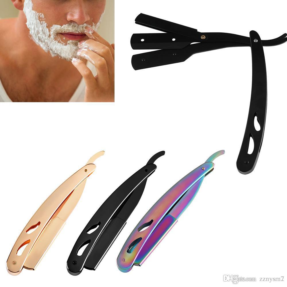 3 Colors Fashion Stainless Steel Straight Edge Razors Beard Eyebrow Barber Shave Manual Folding Shaving Knife Man's Styling Tool