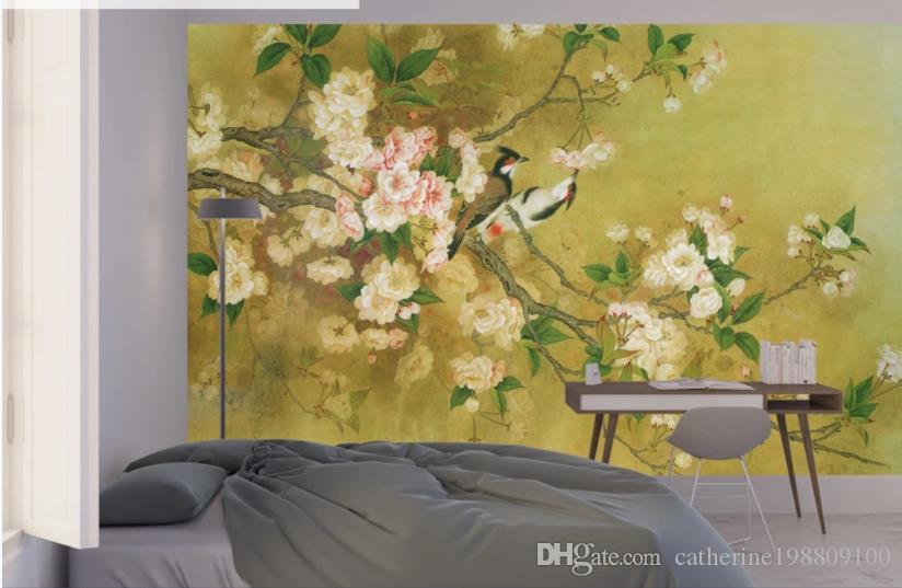 3d настенные фрески обои дотошные цветы и птицы, ручная роспись китайской живописи, роспись стен