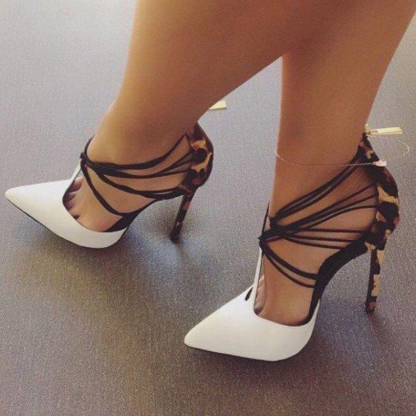 Fashion2019 Chaussures à talons hauts à semelle compensée avec joint léopard pour femmes