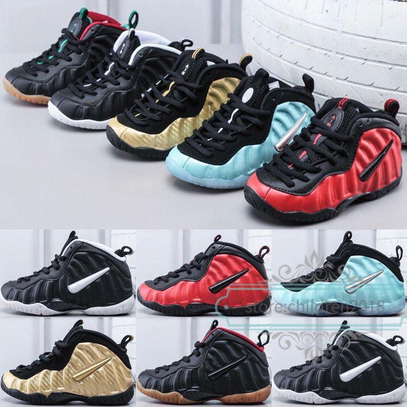 Penny Hardaway Pro Çocuklar Ayakkabı 2019 Tasarımcı Erkek Kız Sneakers Metalik Altın Elektrik Mavi Dr Doom Basketbol Çocuk Bebek Ayakkabı Boyutu 28-35