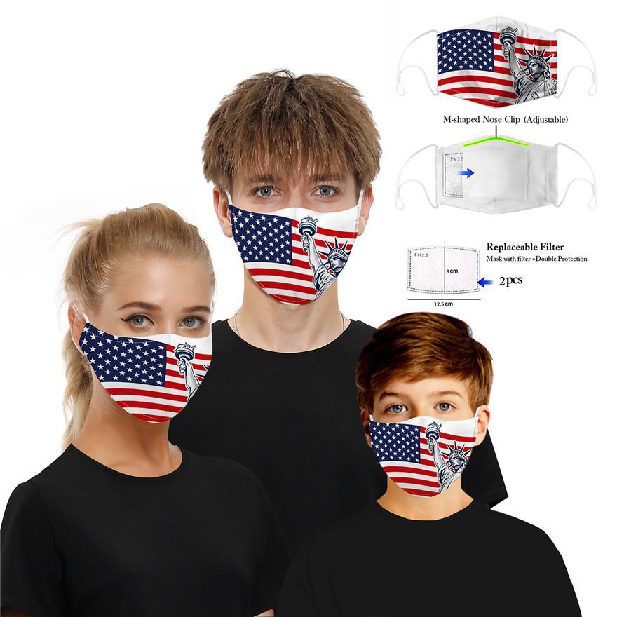maschera progettista faccia teschio bandiera maschera stampa digitale con filtro antipolvere PM2.5 Maschere lavabili auricolari regolabili