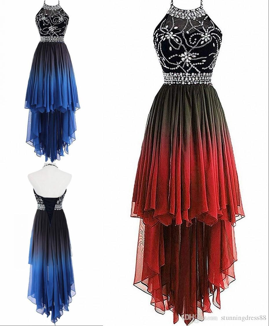 Charming High Low Gradient Ombre Cheap 2020 Prom Homecoming Party Dresses Halter Crystal Beaded Chiffon Backless Bridesmaid Evening Dress