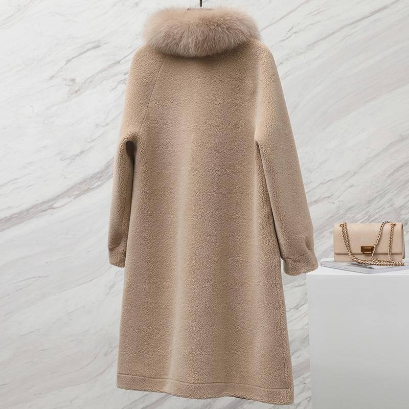 Fox Fur Collar Real Fur Coat Wool Jacket Spring Autumn Coat Women Clothes 2020 Korean Vintage Sheep Shearling Women Tops ZT3656