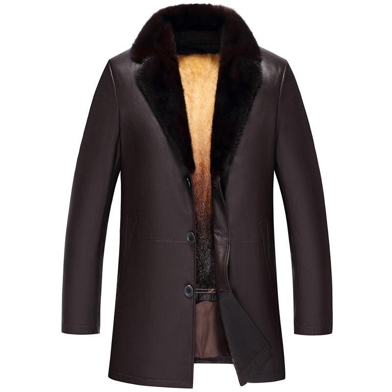 Gerçek Deri Ceket Kış Ceket Erkekler Lüks Altın Coat Erkekler Vintage Gerçek Sheepskin Coat Plus Size Erkek Mont MY5044