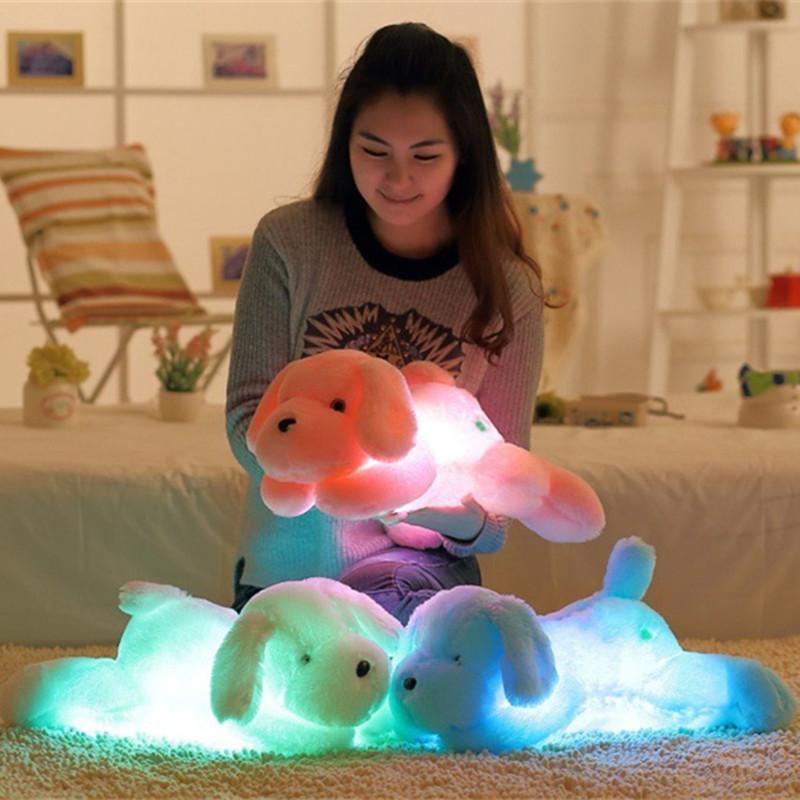 50CM 다채로운 빛난 테디 개 LED 라이트 봉제 인형 베개 쿠션 어린이 장난감 동물 인형 인형 생일 선물 아이 2020