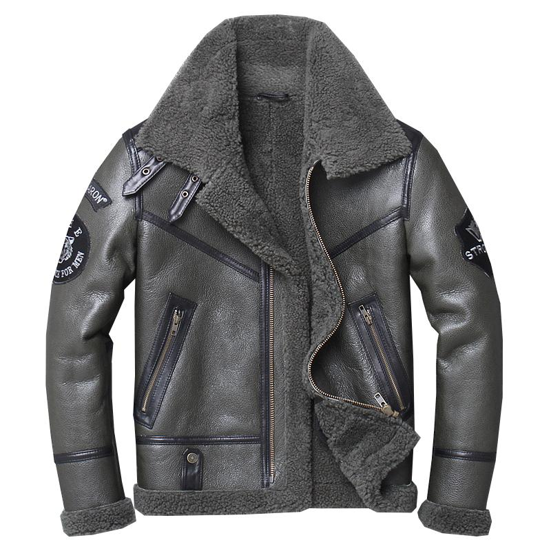 Free shipping,Winter natural Sheepskin thick fur coat,classic wool Shearling,warm genuine leather jacket,mens plus size outwear