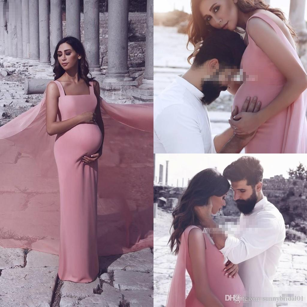 2019 Blush Maternity Pregnant Prom Dresses Spaghetti Floor Length Arabic Women Mother Evening Party Gowns Special Occasion Dress Plus Size
