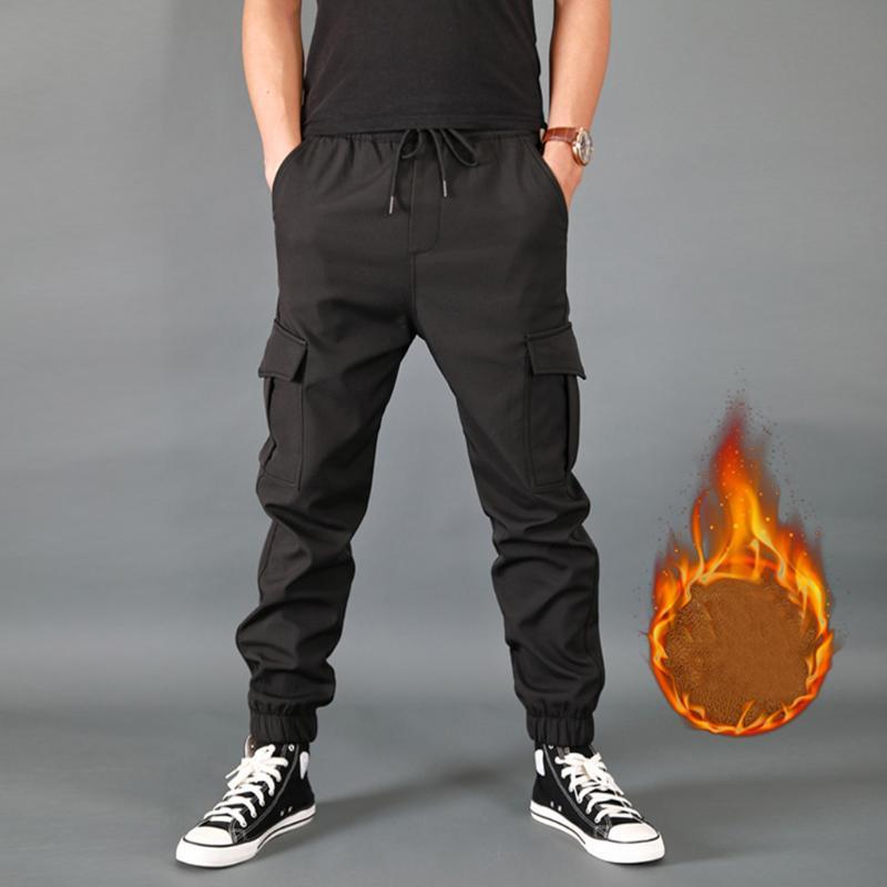 Pantalon homme solide chaud couleur épaissie Pantalons Armée Casual Multi-poches Fashion Style Cargo travail Pantalons Salopette